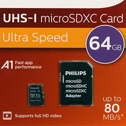 MicroSD карта Philips 64 GB